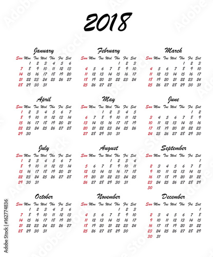 calendar 2018 year week starts sunday us vector clear or blank calendar template