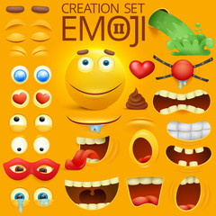 Yellow smiley face character for your scenes template. Emotion big set.