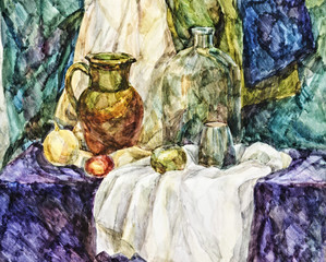 Watercolor sketch of a student's still-life