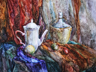 Watercolor sketch of the still life staged