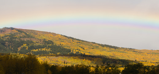 Rainbow Over Fall Color Montana Landscape