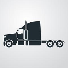 Icono plano cabina camion en fondo degradado