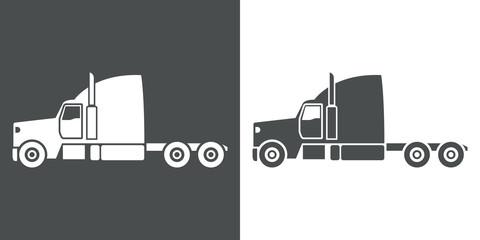 Icono plano cabina camion gris y blanco