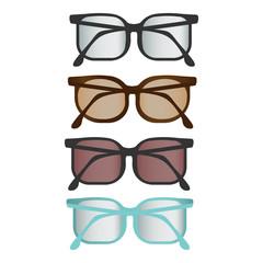 Colorful flat vector glasses set.