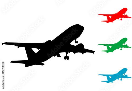 Icono plano silueta avion despegando varios colores\