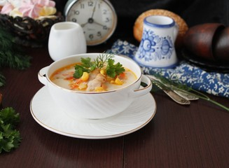 Creamy soup with corn and chicken