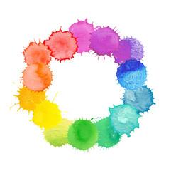 Watercolor rainbow frame.