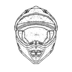 A beautiful motorcycle helmet. Vector illustration for a postcard, poster or print for clothes. Purebred puppy. Motorcycling. Sport.