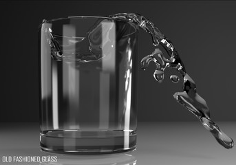 old fashioned glass 3D illustration