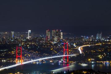 istanbul night landscape and bosphorus