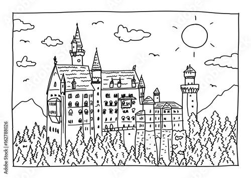 Ausmalbild - Schloss Neuschwanstein\