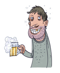 Happy Man Drinking Beer. Vector illustration