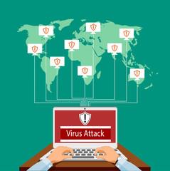 Virus attack vector illustration.