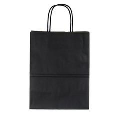 Black paper shopping bag on white background