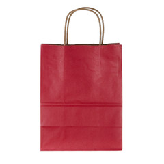 Red paper shopping bag on white background