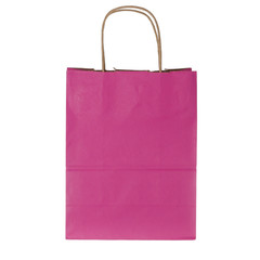 Pink paper shopping bag on white background