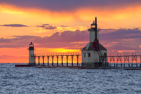 St. Joseph Sunset - St. Joseph, Michigan Lighthouses on Lake Michigan