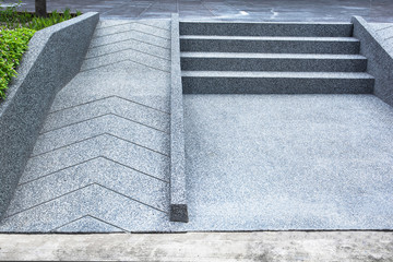 ramp for the wheelchair and stairs for normal people adjoining