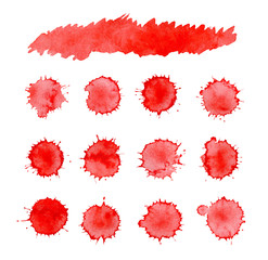 Abstract red ink splatter background. Dripping blood set