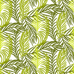 Green palm leaves vector seamless background.