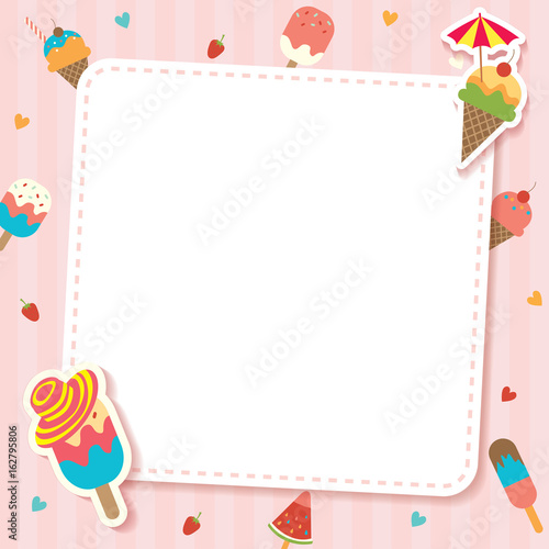 """Background Of Cute Ice Cream With Phrase Vector: """"Cute Ice Cream Cone And Bar Design To Various Flavors"""
