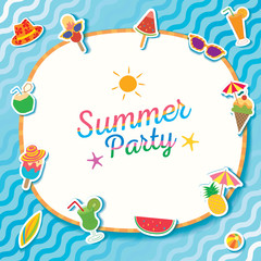 Summer party with ice cream and fruit symbol decorated with water pool.