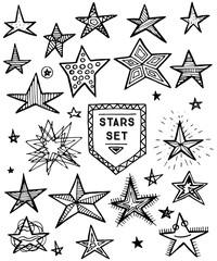 Hand Drawn Stars Set. Vector Illustration.