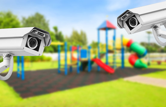 CCTV playground on yard in the park.
