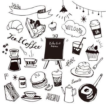カフェ 線画イラスト 白黒