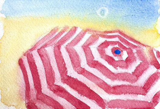 sun umbrella watercolor
