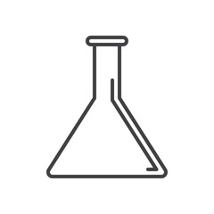 Flask, lab beaker line icon, outline vector sign, linear style pictogram isolated on white. Symbol, logo illustration. Editable stroke. Pixel perfect graphics