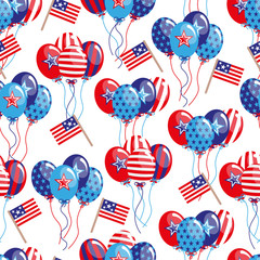 vector 4th of July seamless pattern with balloons and flags