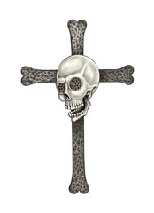 Art skull Cross.Hand drawing on paper.