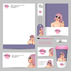 vector business corporate mock-up with woman wearing pink wig
