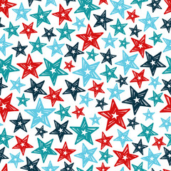 vector seamless pattern with blue and red stars