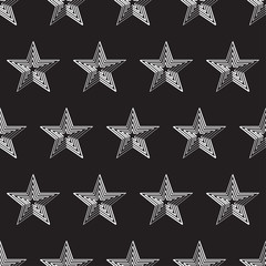 vector seamless pattern with white stars against black