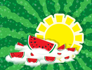 Sun as circle banner for text and slices of watermelon on white clouds on green color background from rays, stripes. With many tiny glowing pieces, bokeh. Hello Summer. Abstract background, vector