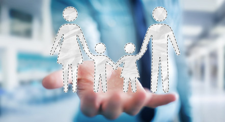 Businessman holding family interface in his hand 3D rendering