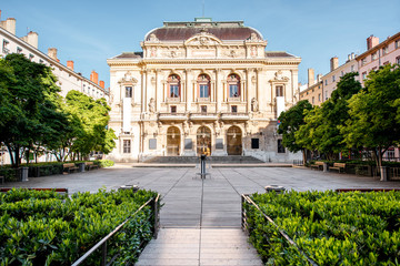 Morning view on the theatre building on the Celestins square in Lyon Fototapete