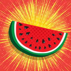 Juicy slice of watermelon. Yellow, shiny radial rays speed lines on bright red background with effect power explosion, like sun. Concept of Hello Summer. Fruit abstract background, vector illustration