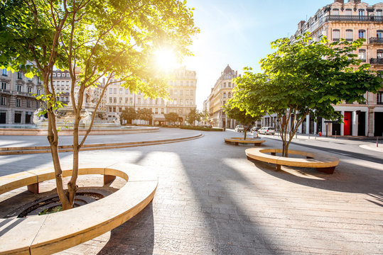 Morning view on Jacobins square in Lyon city, France