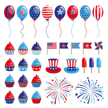 vector set of 4th of July decoration elements