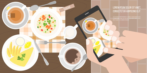 Hand use smartphone take photo by touching screen before eating in restaurant in aerial view, flat design vector for banner or cover about human behavior concept