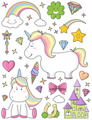 Einhorn Set mit Regenbogen, Sternen, Herzen, Schloss und Kleeblatt