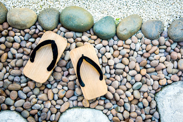 japanese traditional shoes in garden.
