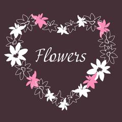 Floral vintage frame Manual Drawing.