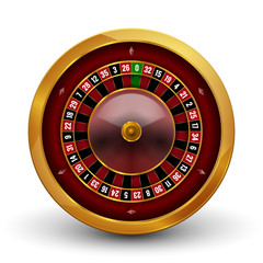 Realistic casino gambling roulette wheel isolated on white background. Vector play chance luck roulette wheel illustration