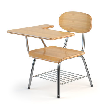 Wooden school desk and chair isolated on white.