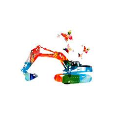 Colorful excavator machine isolated vector illustration