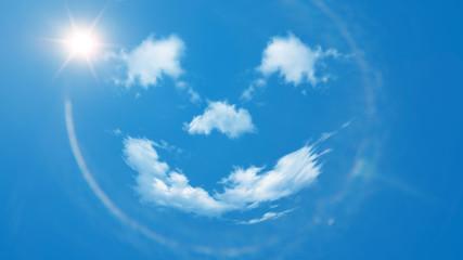 Sommer Hintergrund - blauer Himmel mit Wolken und Sonne als positiver lachender Smiley